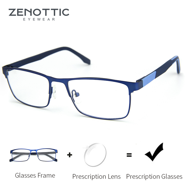 ZENOTTIC Alloy Progressive Prescription Glasses For Men Women Square Myopia Anti blue light Photochromic Optical Eyewear Frame