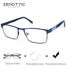 ZENOTTIC gafas graduadas para hombres y mujeres, anteojos cuadrados para miopía, montura fotocromática con luz azul, gafas ópticas