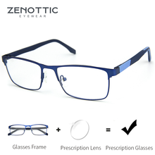 ZENOTTIC lunettes de Prescription Progressive, en alliage, pour hommes et femmes, pour myopie carrée, Anti lumière bleue, photochromique, monture de lunettes de vue