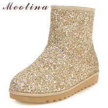 Купить с кэшбэком Meotina Winter Snow Boots Women Boots Warm Plush Glitter Flat Ankle Boots Bling Round Toe Shoes Ladies Gold Pink Plus Size 34-43