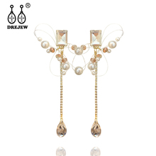 DREJEW Water Drop Pearl Square Rhinestone Statement Earrings 2019 Summer 925 Drop Earrings Sets for Women Wedding Jewelry HE1721 pair of stunning faux pearl rhinestone drop earrings for women