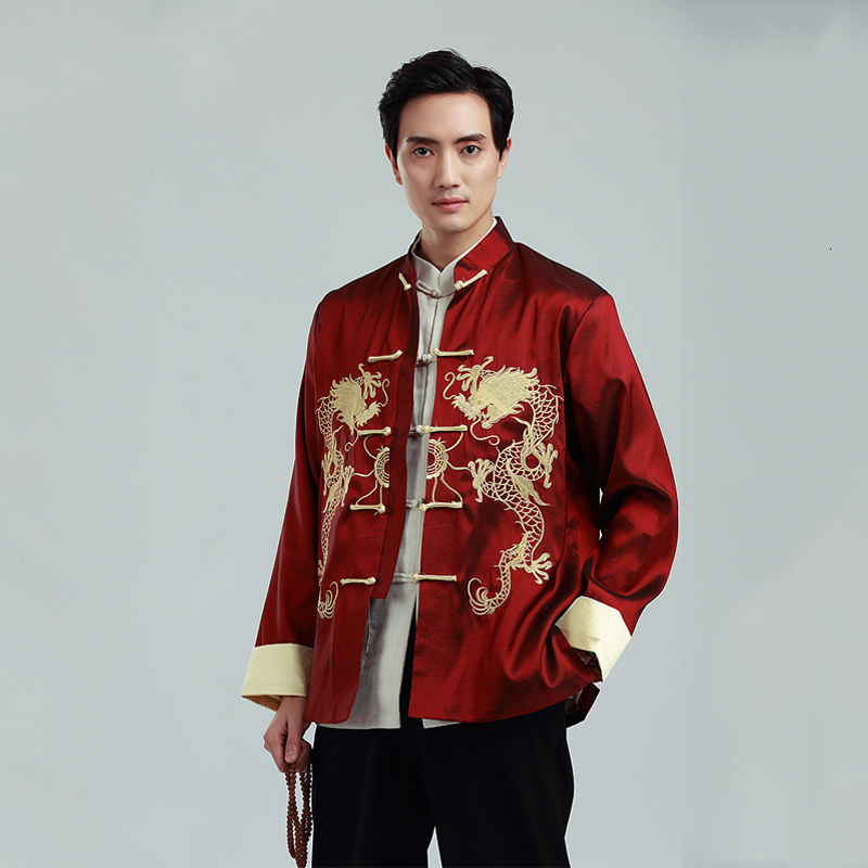 Men Traditional Chinese Dragon Embroidery Tang Suit Oriental Tee Tops Shirt Kung Fu Loose Blouse Male Hanfu Jacket Stage Costume