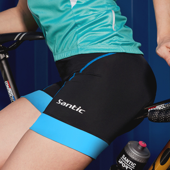 Santic Women Cycling Shorts 4D Coolmax Padded Bicycle Shorts Reflective Anti-Sweat Women MTB Underwear Bike Pants US/EU Size 1