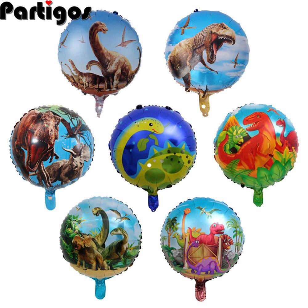 18 дюймов динозавр фольги Воздушные шары круглые гелиевые шары Детские вечерние товары на день рождения игрушки подарки украшение Юрского п...