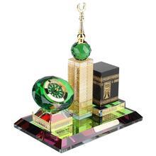 Figurine in miniatura Giardino Ramadan Artigianato Musulmano Kaaba Clock Tower Modello Islamico Architettura Artigianato Desktop di Casa Decorazione