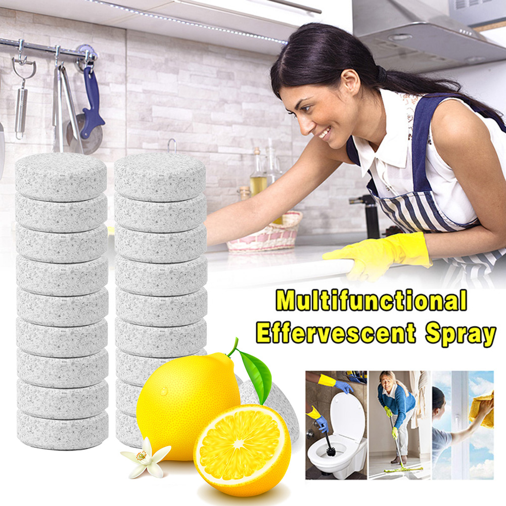Image 3 - Multifunctional Harmless Concentrate 10/20 pcs Lemon Effervescent Spray Cleaner Home Toilet Cleaner Chlorine Tablets VClean Spot-in All-Purpose Cleaner from Home & Garden