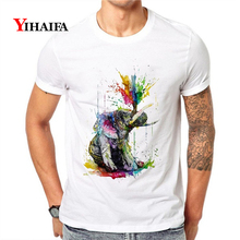 Mens Womens T-Shirt Elephant 3D Print Animal Graphic Tees Casual Tee Shirts Round Neck Short Sleeve Unisex White Tops