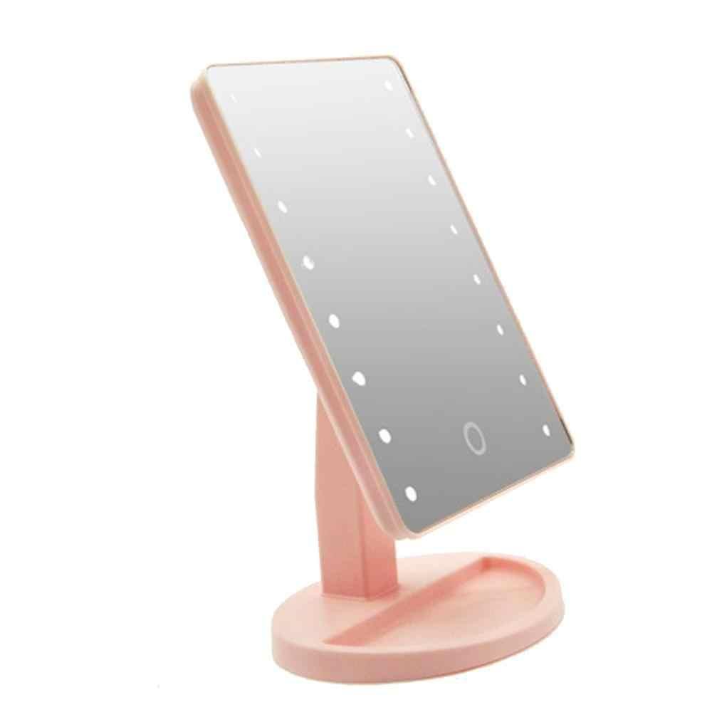 Espejo LED de escritorio para almacenamiento de maquillaje con luz 16 luces espejo de maquillaje escritorio 360 espejo giratorio con Sensor táctil de maquillaje