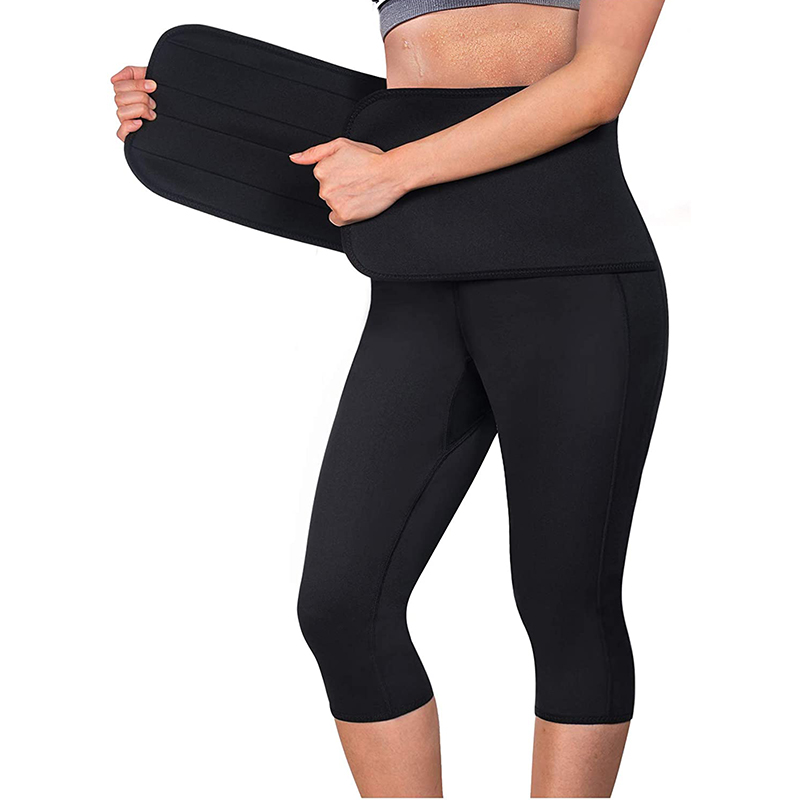 Women Sauna Pant Capris Fat Control Sweat Legging with Waist Trainer Belt Hot Sweat Pants Double Compression Tummy Shaper