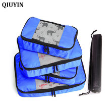 QIUYIN 4Pcs/set Packing Cube Travel Bags Portable Large Capacity Clothing Sorting Organizer Luggage Accessories Supplies Product