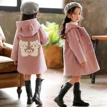 Одежда для девочек осень-зима г., Новое Детское модное плотное теплое шерстяное пальто средней длины с героями мультфильмов, куртки от 4 до 12 лет