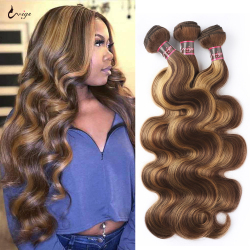 UWIGS Highlight Body Wave Bundles P4/27 Honey Blonde Brown Bundles Brazilian Hair Wave Bundles Ombre Human Hair Bundles Remy