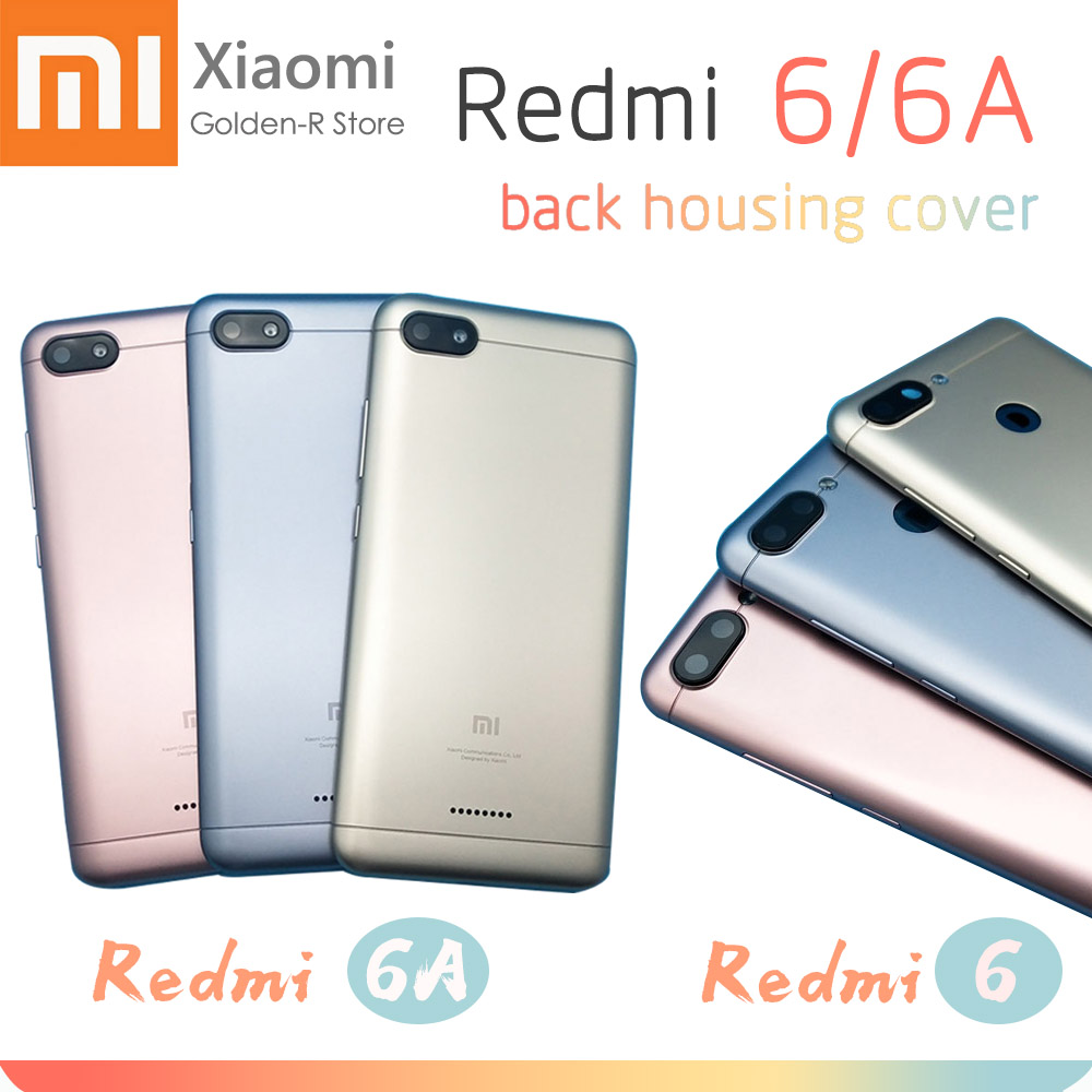 New For Xiaomi Redmi 6 6A Battery Back Cover Door Housing Plastic Real Panel+ Camera Lens + Side Keys Replacement Parts