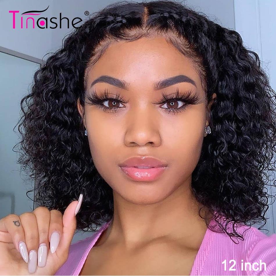 Peluca Bob corto Tinashe, pelucas de cabello humano rizadas con encaje frontal, 13x4, pelucas brasileñas con encaje frontal de Bob, Bob corto peluca rizada de pelo humano