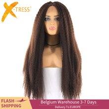 Jasnobrązowa szwajcarska koronka przodu peruki dla czarnych kobiet X TRESS 26 cali długie perwersyjne prosto koronki przodu syntetyczne włosy peruka środkowa część