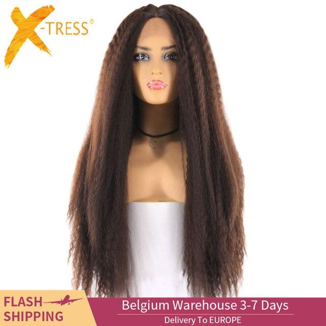 ライトブラウンスイスレースフロントかつら黒人女性のためのX TRESS 26 インチロング変態ストレートレースフロント人工毛かつら中部