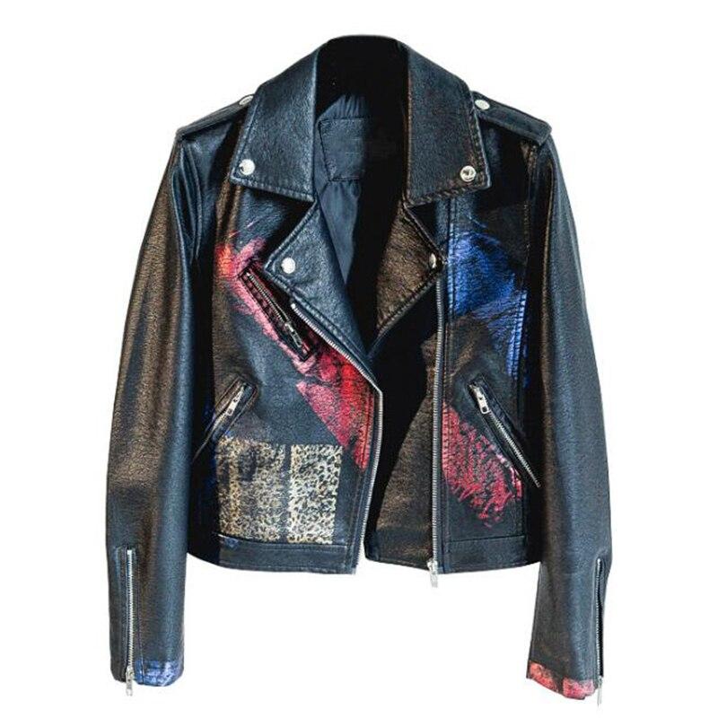 Fashion Graffiti Printing   Leather   Jacket Long Sleeve Jacket Women Outerwear Female Spring Autumn Coat Women Slim Casual Jackets