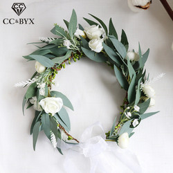 CC Wreath Flower Crown Tiara Hairbands Wedding Hair Accessories For Women Bridal Forest Style 100% Handmade Party Headwear mq089