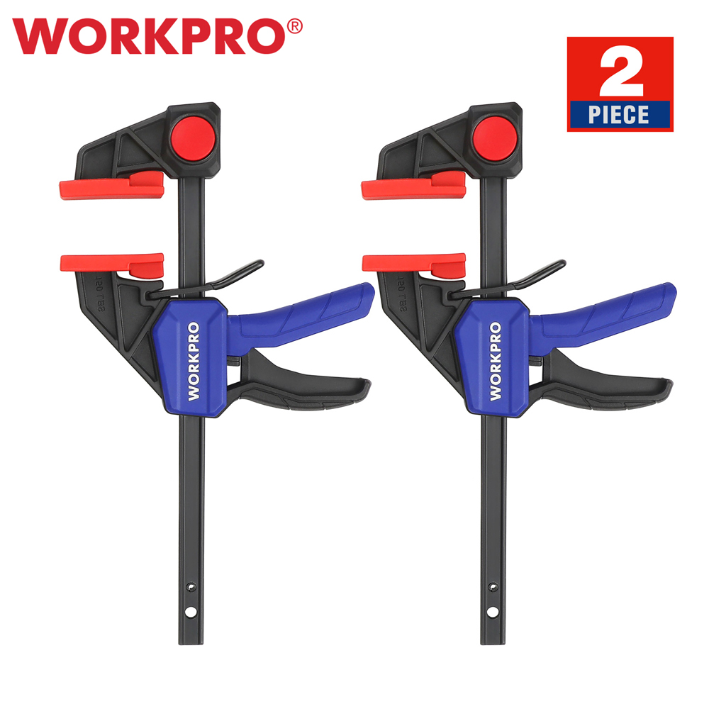 WORKPRO 2PC Ratchet Bar Clamp Set 6-Inch/150mm Quick Release and One-Handed Heavy-Duty Bar Clamp/Spreader for Woodworking