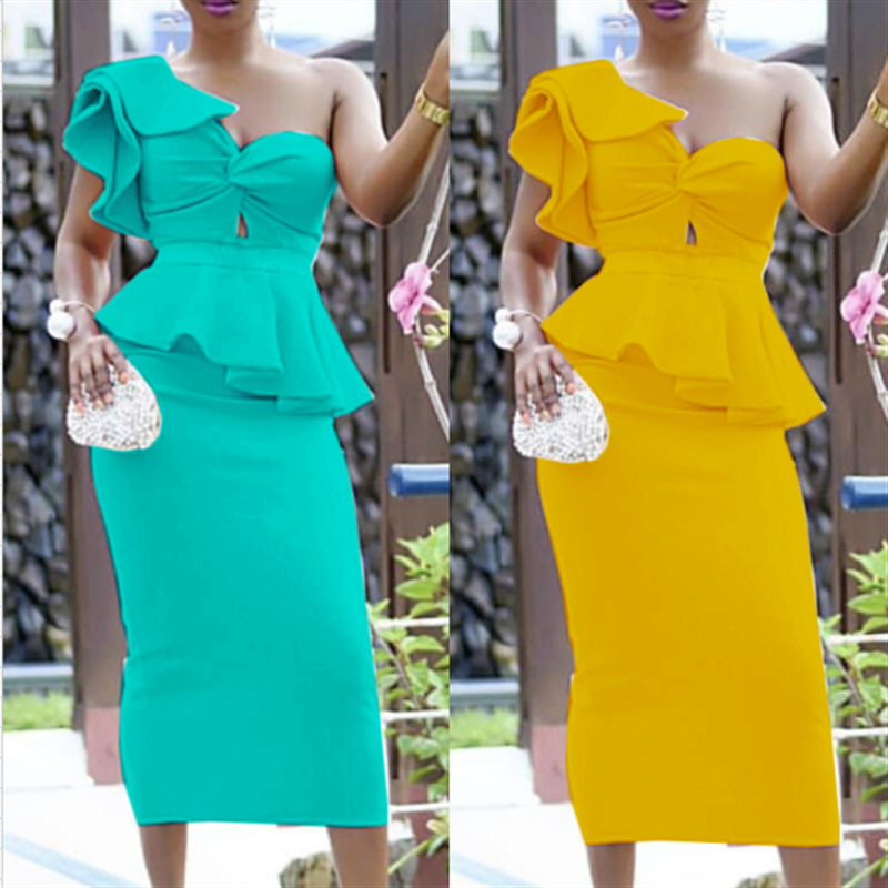 One Shoulder Cocktail Dresses Ruffles Plus Size Semi Formal Dress With Stretch Real In Stock Homecoming Dresses ESAN258