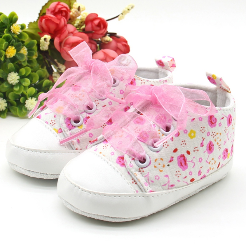 3 Sizes Toddler Girl Floral Soft Sole Baby Shoes All Season Mesh Bowknot Decoration Comfortable Non-slip First Walker Sneakers