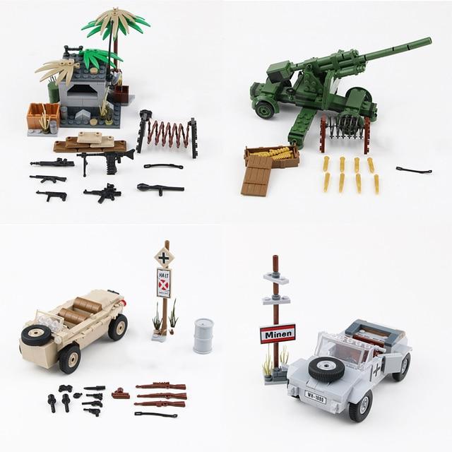 NEW WW2 Military German Army Soldier Figures Blocks Toys Typ 82 Kubelwagen Weapons Accessories Blocks Bricks Toys for Children