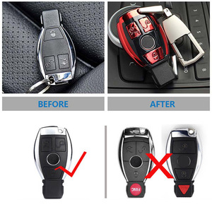 Image 4 - ABS Auto New Car Styling Remote Key Shell Key Case Cover With Keyring Key chain Buckle For Mercedes Benz C Class W205 GLC GLA