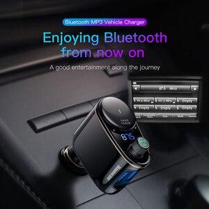 Image 2 - Baseus車のusb充電器車のfmトランスミッタiphone xiaomi aux MP3プレーヤーfm変調器のためのデュアルusb車の充電携帯電話