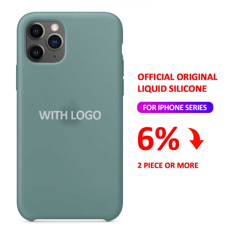 Funda de silicona con logotipo oficial para iphone 7 8 6 S 6 S Plus 11 Pro X XS MAX XR SE, funda de teléfono para Apple iphone 7 8 plus X 11