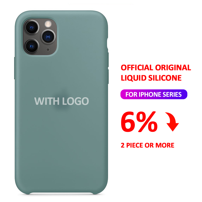 With LOGO Official Silicone Case For iphone 7 8 6 S 6S Plus 11 Pro X XS MAX XR SE phone Case on Apple iphone 7 8 plus X 11 Cover