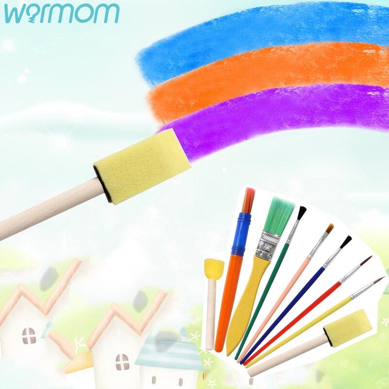 WARMOM 9PCS/Set Children Painting Brush Kids Graffiti Painting Pen Kindergarten DIY Early Education Art Painting Supplies Set