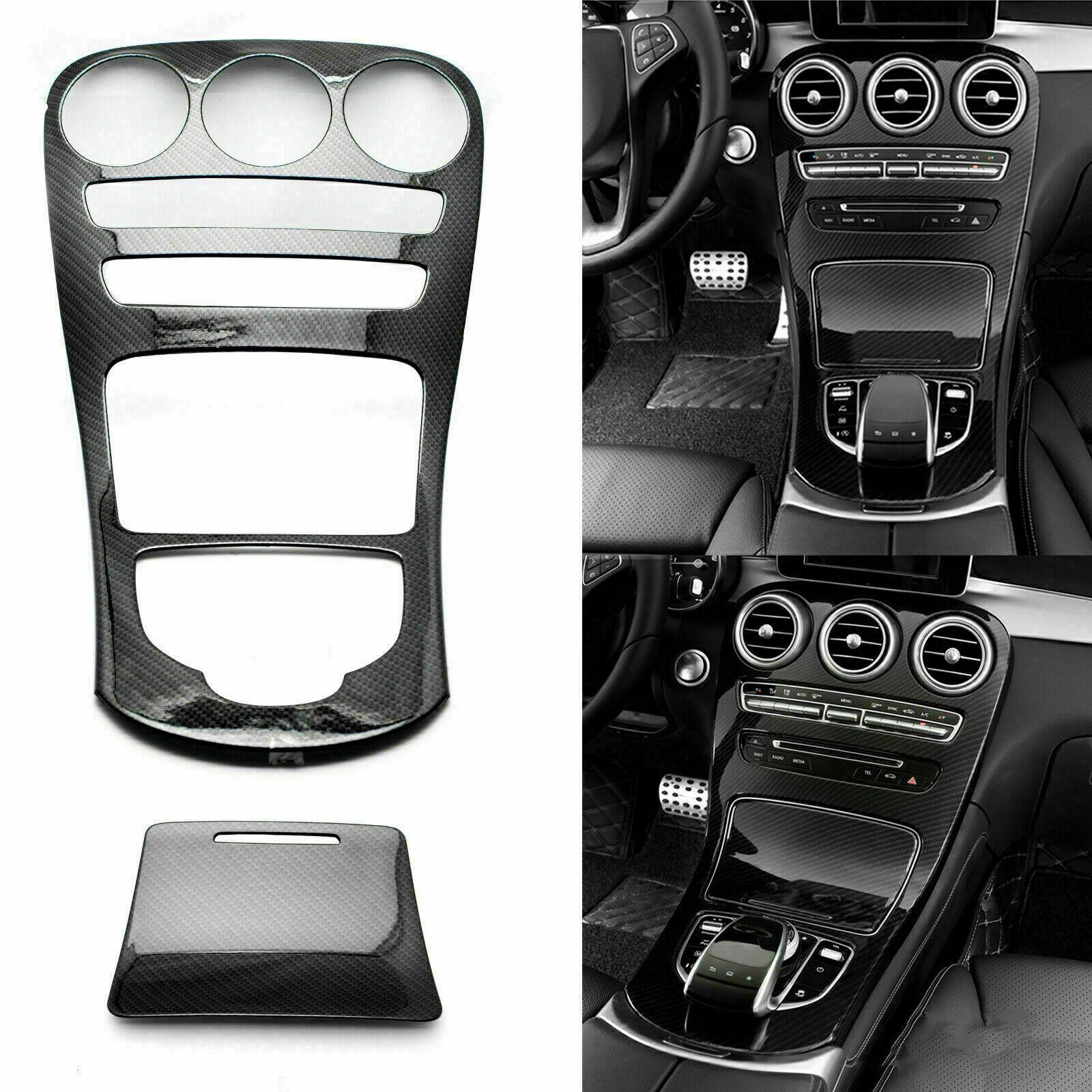 Abs Center Console Panel Decoration Cover Trim 2Pcs For Mercedes Benz C Class W205/Glc X253 Carbon Fiber Color