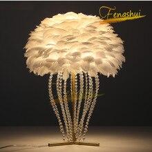 Modern LED Feather Table Lamp Nordic Swan Crystal Bedroom Bedside Living Indoor Decor