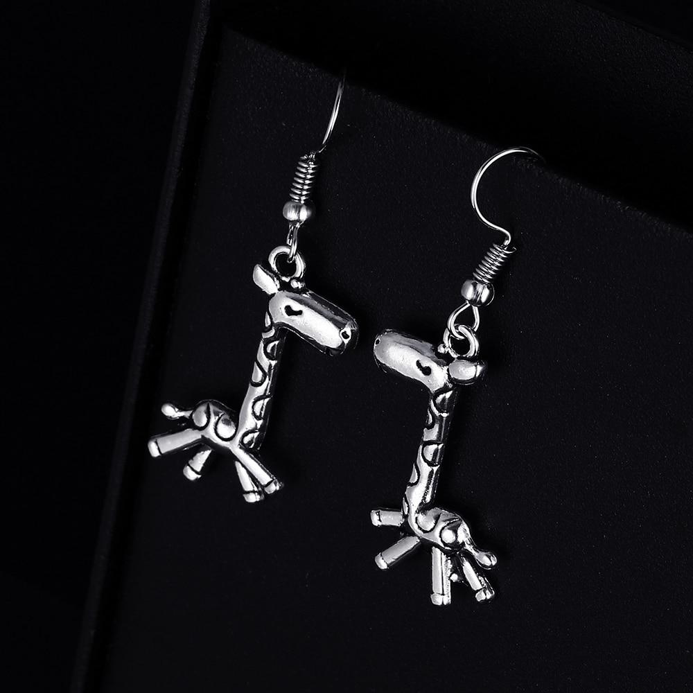 Trendy Vintage Giraffe Shape Dangle Earrings for Women Girl Retro Drop Earrings Cute Small Object Earring Jewelry Bijoux