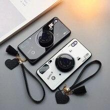 نمط الكاميرا الموضة الزجاج المقسى جراب هاتف فاخر آيفون x xr xs max 8 7 6 6s زائد مجموعة مع الدعامات بالون والحبل