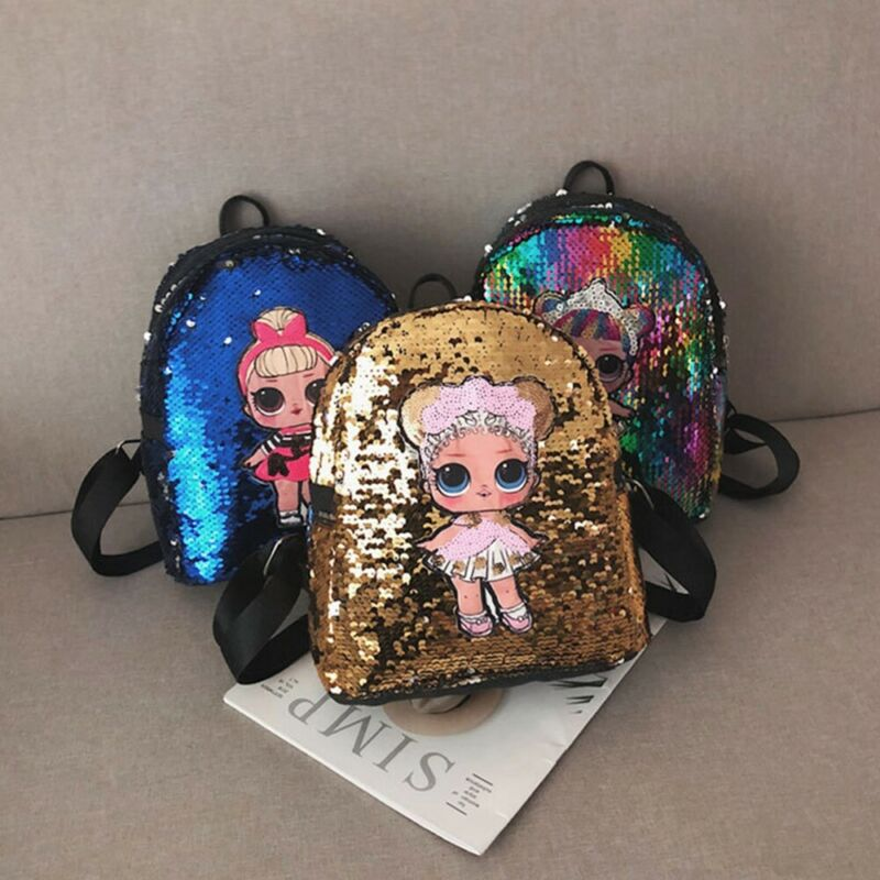 Chilren Kids Girls School Backpack Sequins Bags Fashion Travel Shoulder Backpack Bags Mini Rucksack Kids School Bag
