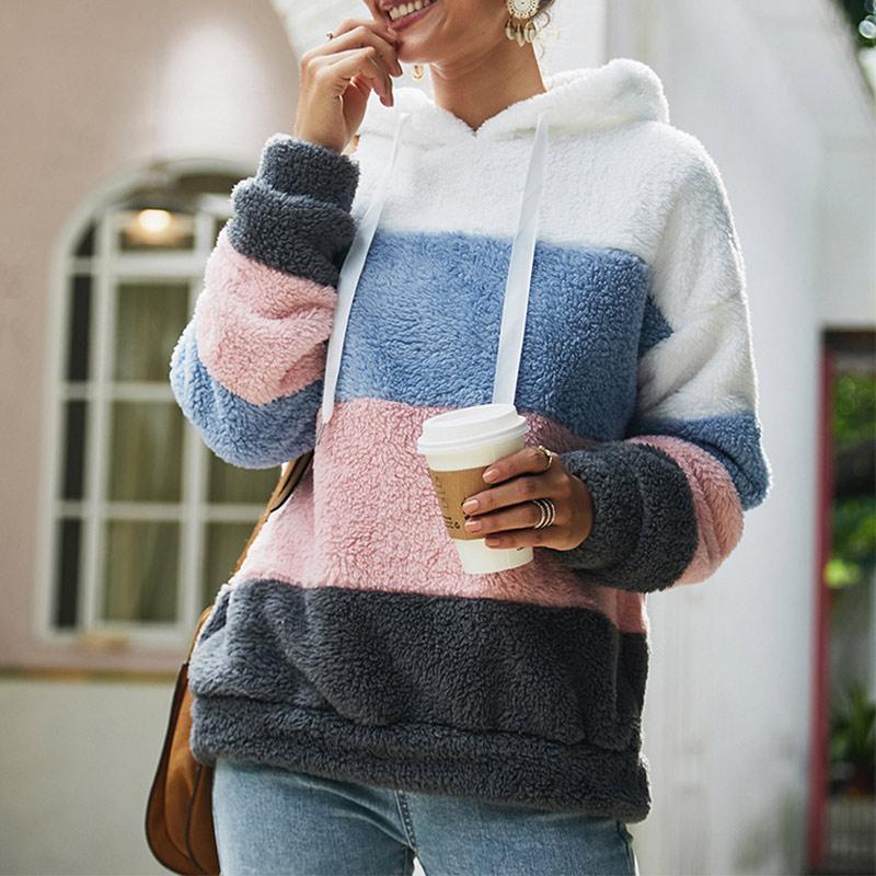 Women's Fleece Patchwork Hooded Sweatshirt Rainbow Striped Casual Warm Pullover Hoody 2020 Winter Autumn Thicken Hoodies Female