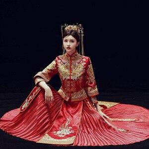 Image 3 - 2019 קידום אונליין שושבינה כלה החדש 2020 שיה פאן Jinxiu Longfeng הקיים חתונה תלבושות בסגנון סיני להינשא