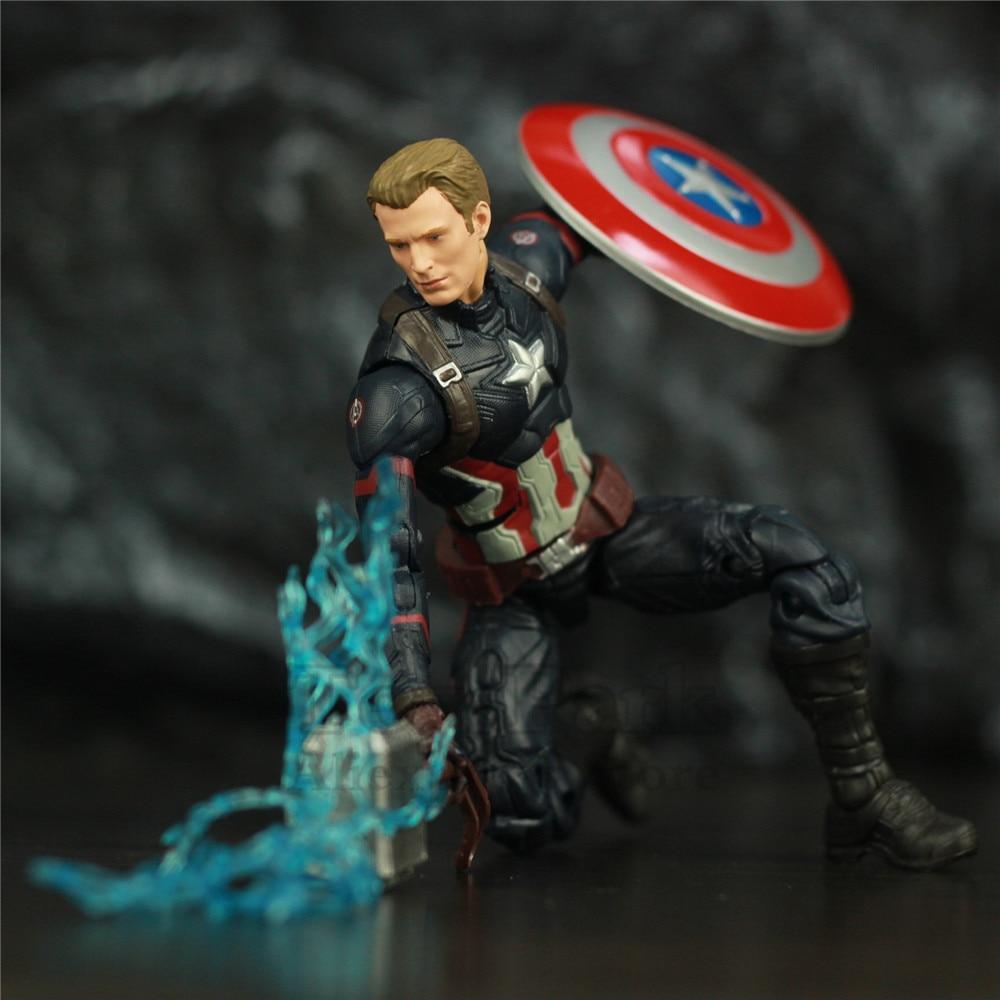 """Avengers Endgame Captain America 6"""" Action Figure KOs Marvel Legends Custom Steven Rogers Mjolnir Worthy Captain Head Doll ToysAction & Toy Figures   -"""