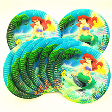 10pcs/set Mermaid Party Supplies Paper Plates Disposable Tableware Birthday Festival Party Favors Decoration Cake Plate Dishes a set friction plates paper based plate
