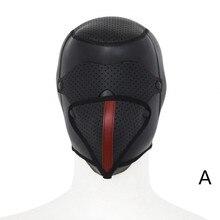 porno Leather Padded Hood Blindfold ,Head Restraints Harness Mask, BDSM Bondage