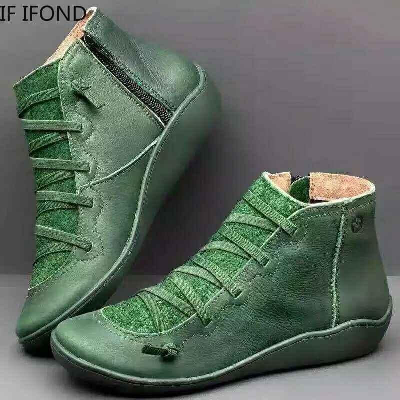 IF IFOND 2019 caliente nuevo otoño inicio invierno Retro Punk mujeres botas moda cuero genuino tobillo botas Cruz Strappy plano zapatos