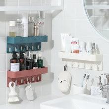 045 настенный стеллаж для кухни и ванной комнаты с 6 крючками