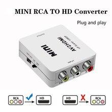 Av/rca cvbs para hdmi-conversor de vídeo compatível 1080p mini caixa de conversor de adaptador av2hdmi para hdtv projetor conjunto caixa superior dvd