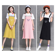 Denim Dress Letter Embroidery Suspender Woman 2020 Summer Harajuku Cute Strap Jeans Dresses Sundress Denim Overalls HH217(China)