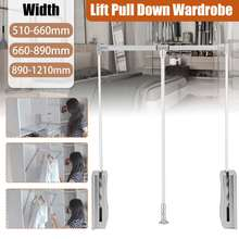 New Heavy Duty Adjustable Pull Down Wardrobe Closet Rod Hanging Expanding Wardrobe Lift Space Saving 30Kg