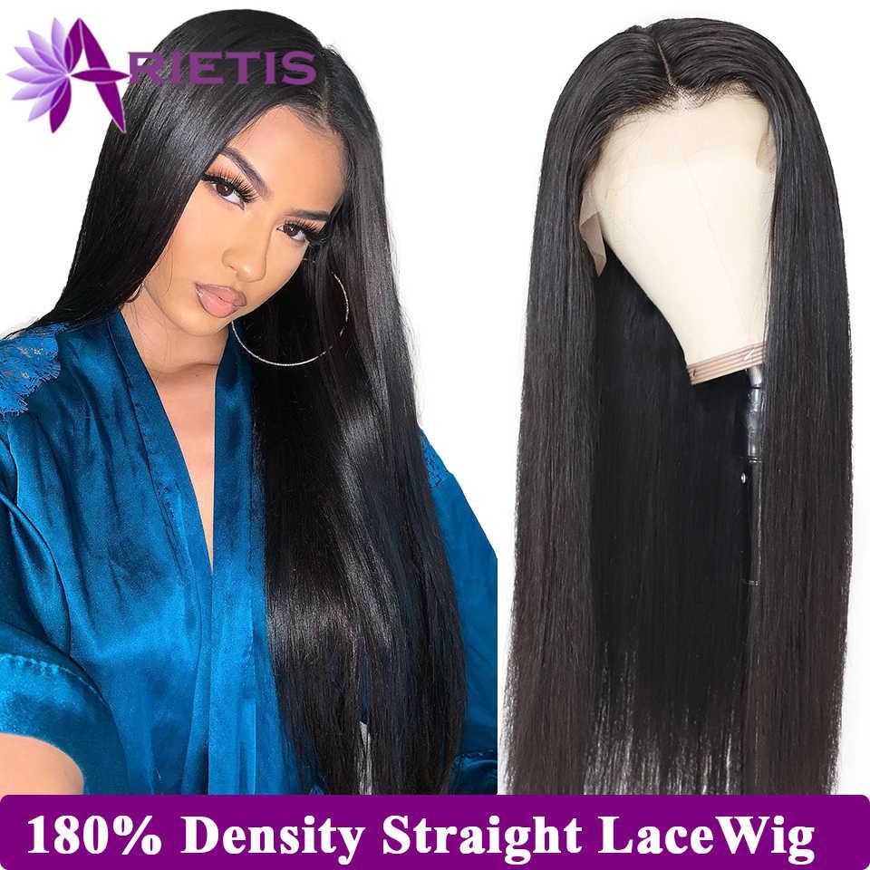 180% gęstości 13x4 koronki przodu włosów ludzkich peruk brazylijski proste włosy ludzkie peruki 360 koronki przodu peruka wstępnie oskubane z dzieckiem włosy