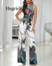 Spaghetti Strap Peacock Print Jumpsuit 2020 Summer Printed Long Overalls Playsuit Beach Wide Leg Pants Romper women summer beach holiday floral print jumpsuit strappy spaghetti strap deep v neck loose playsuit long pants split jumpsuit