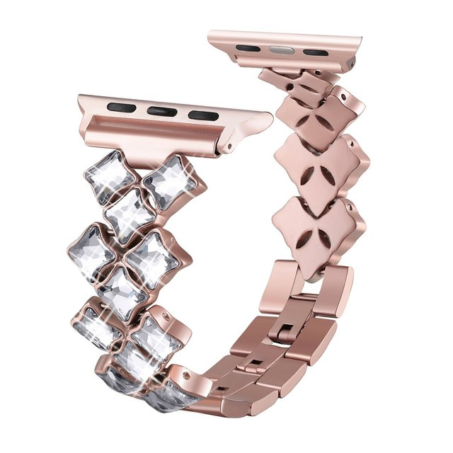 Women Rhinestone Stainless Steel Replacement Watch Band Strap For Apple Watch Series 38mm/40mm 42mm/44mm 4 3 2 1 | Fotoflaco.net
