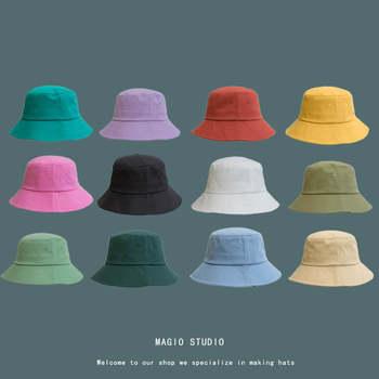 [Meltryllis] Korean Adult Solid Color Summer Foldable Bucket Hat Wide Brim Beach UV Protection Round Top Sunscreen Fisherman Cap